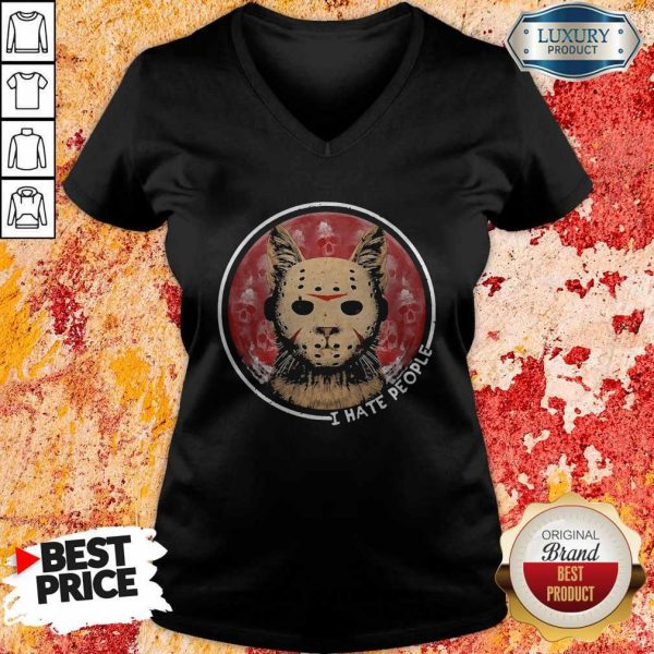 Cat Jason Voorhees I Hate People V-neck