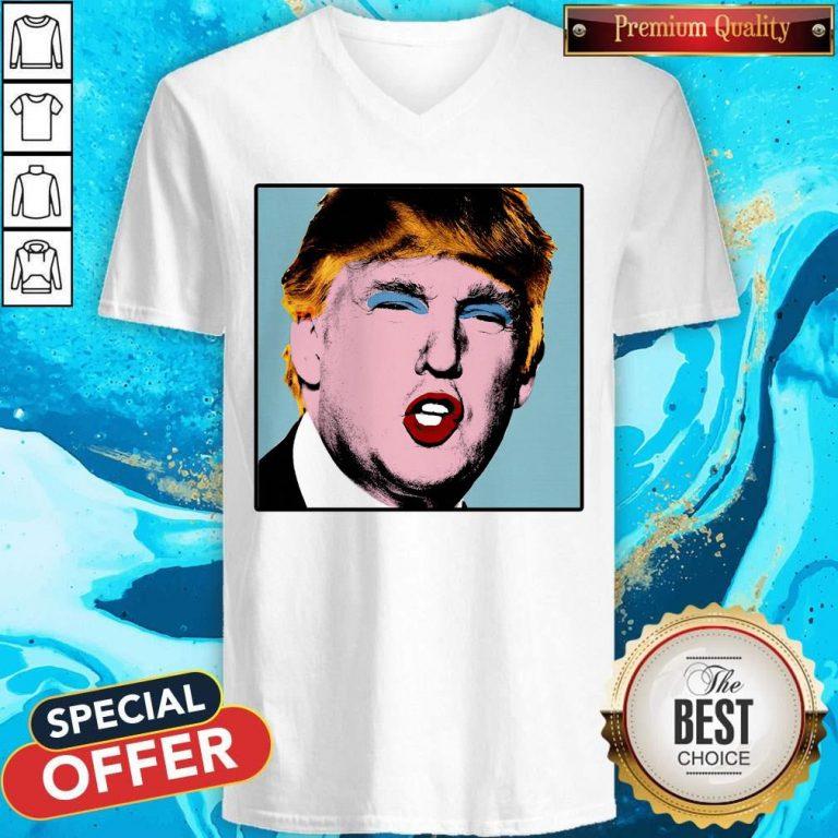 Donald Trump Makeup Style Warhol V-neck