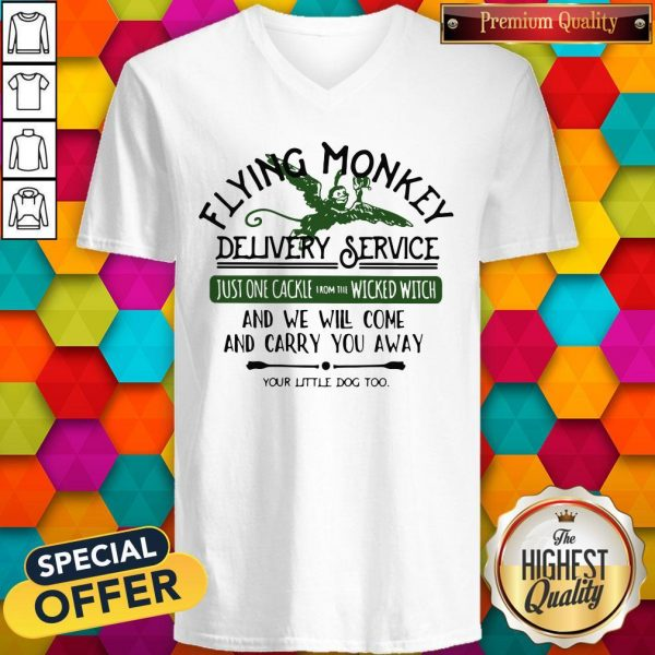 Flying Monkey Delivery Service Your Little Dog Too V-neck