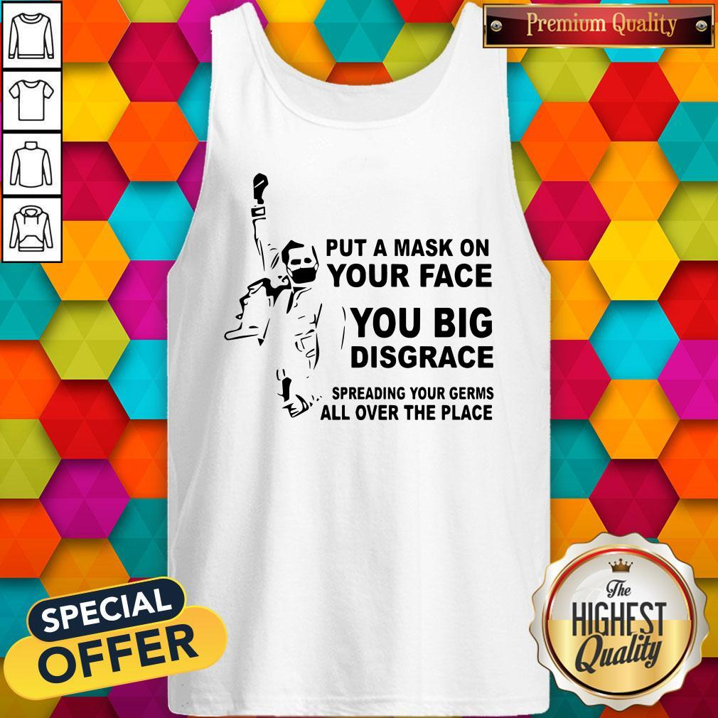 Freddie Mercury Put A Mask On Your Face You Big Disgrace Spreading Tank Top