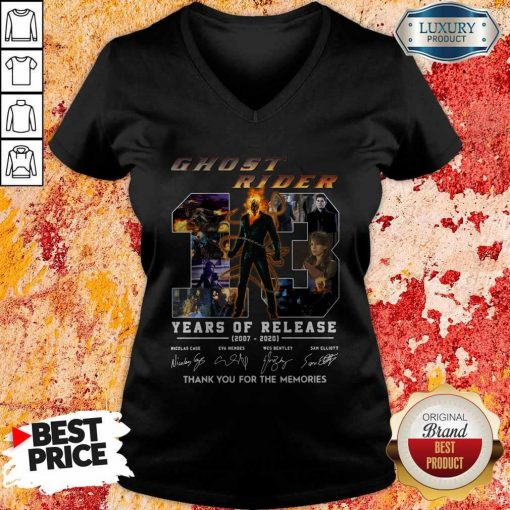 Ghost Rider 13 Years Of Release 2007 2020 Thank You For The Memories Signatures V-neck