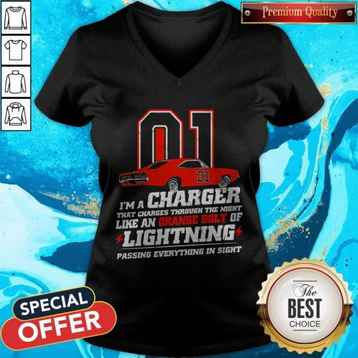 01 I'm A Charger That Charges Through The Night Like An Orange Bolt Of Lighting Passing Everything In Sight V-neck