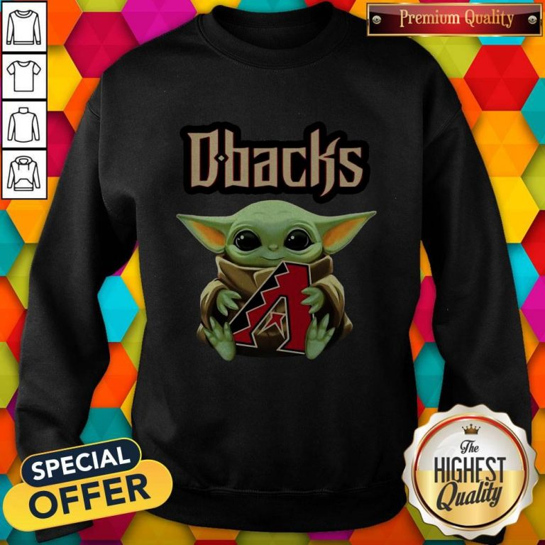 Baby Yoda Hug Arizona Diamondbacks Logo Sweatshirt