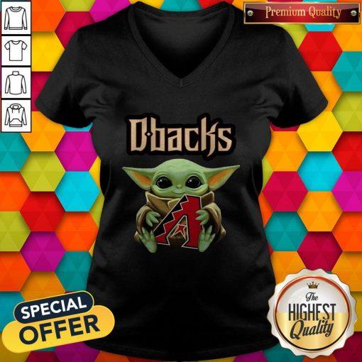 Baby Yoda Hug Arizona Diamondbacks Logo V-neck