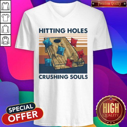 Hitting Holes Crushing Souls Vintage V-neck