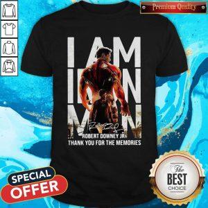 I Am Iron Man Robert Downey Jr Thank You For The Memories Signature Shirt
