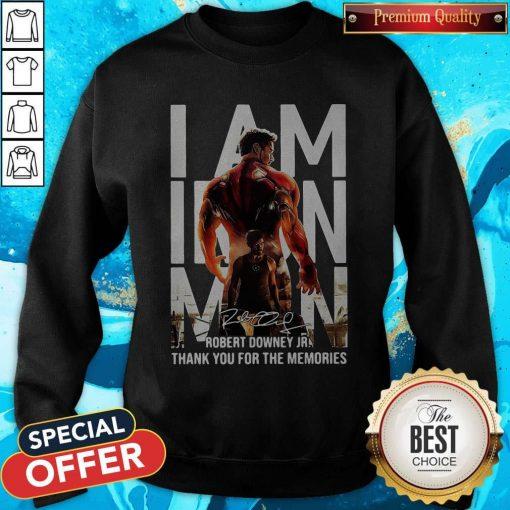I Am Iron Man Robert Downey Jr Thank You For The Memories Signature Sweatshirt