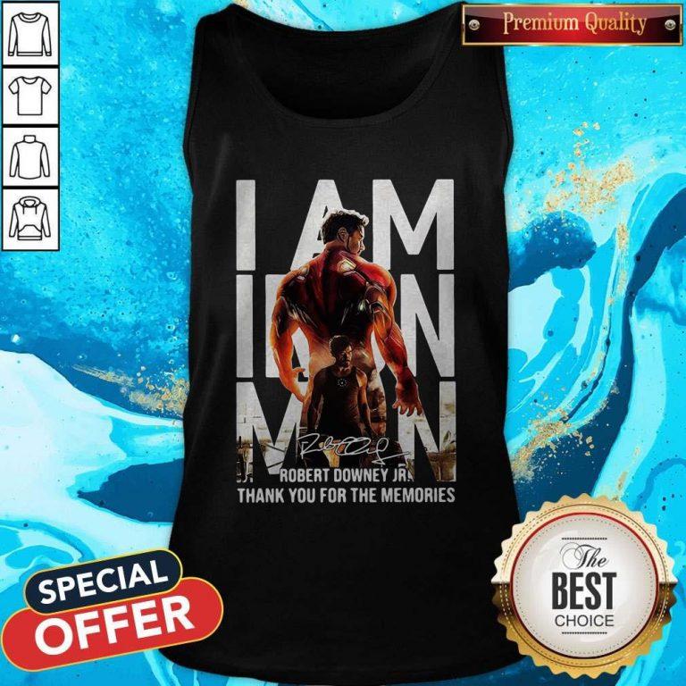 I Am Iron Man Robert Downey Jr Thank You For The Memories Signature Tank Top
