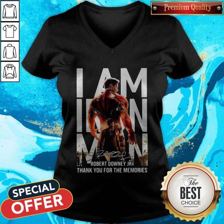I Am Iron Man Robert Downey Jr Thank You For The Memories Signature V-neck