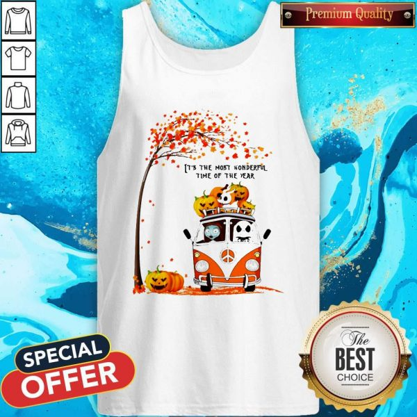 Jack Skellington And Sally Hippie It's The Most Wonderful Time Of The Year Happy Halloween Tank Top