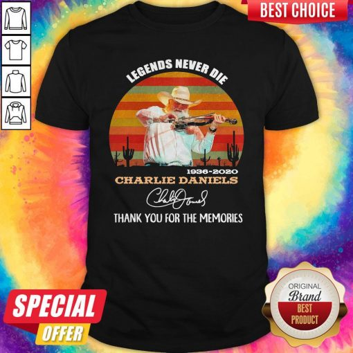 Legends Never Die 1936 2020 Charlie Daniels Thank You For The Memories Signature Vintage Shirt