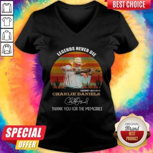 Legends Never Die 1936 2020 Charlie Daniels Thank You For The Memories Signature Vintage V-neck