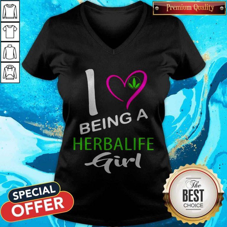 Nice I Being A Herbalife Girl V-neck
