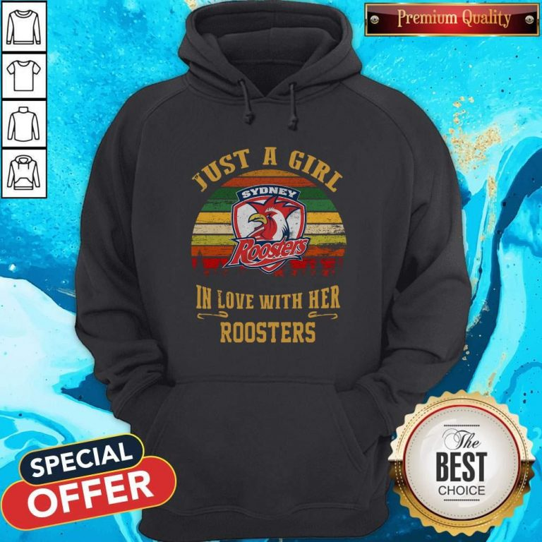 Nice Sydney Roosters Just A Girl In Love With Her Roosters Vintage Retro Hoodie