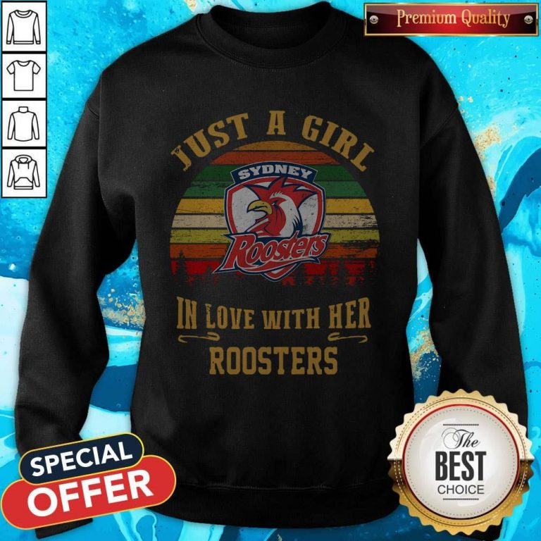 Nice Sydney Roosters Just A Girl In Love With Her Roosters Vintage Retro Sweatshirt