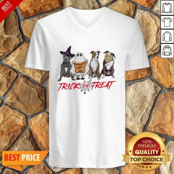 Nice Terrier Dog Trick Or Treat V-neck