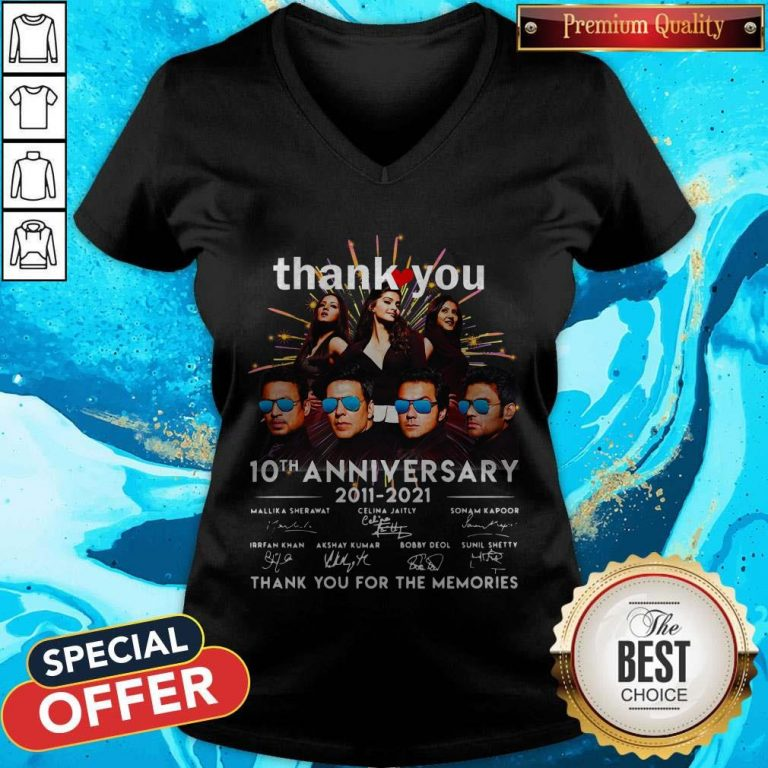 Nice Thank You 10th Anniversary 2011 2021 Thank You For The Memories Signatures V-neck