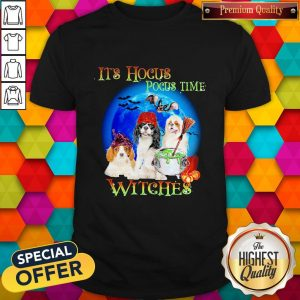 Shih Tzu Dogs It's Hocus Pocus Time Witches Halloween Shirt