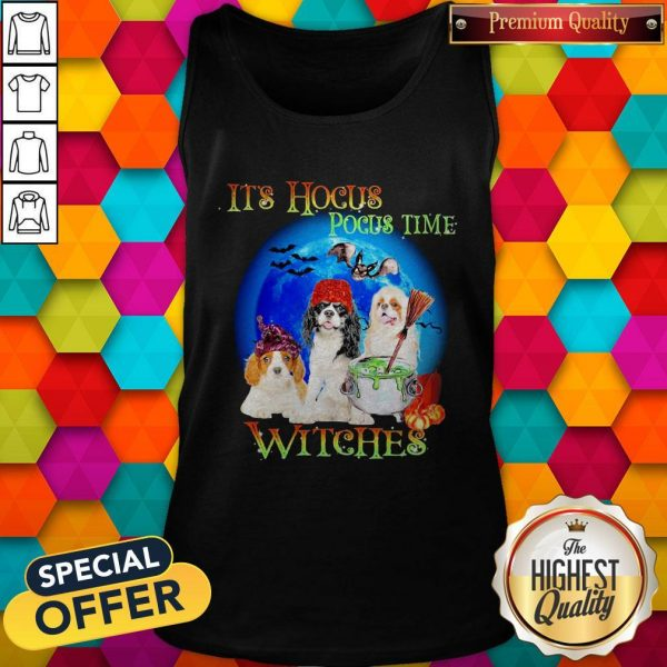 Shih Tzu Dogs It's Hocus Pocus Time Witches Halloween Tank Top