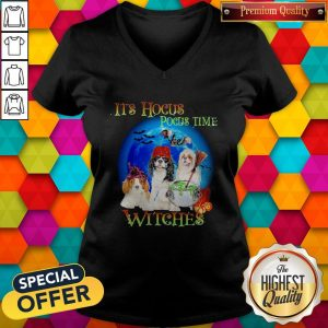 Shih Tzu Dogs It's Hocus Pocus Time Witches Halloween V-neck