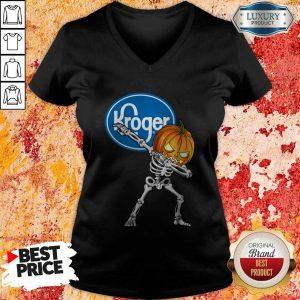 Skeleton Dabbing Halloween Pumpkin Kroger V-neck