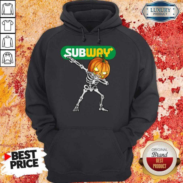 Skeleton Dabbing Halloween Pumpkin Subway Hoodie