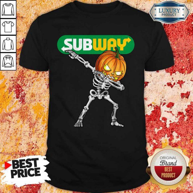 Skeleton Dabbing Halloween Pumpkin Subway Shirt