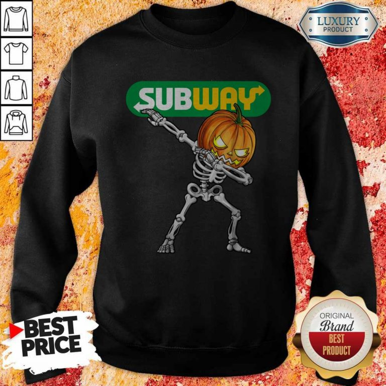 Skeleton Dabbing Halloween Pumpkin Subway Sweatshirt