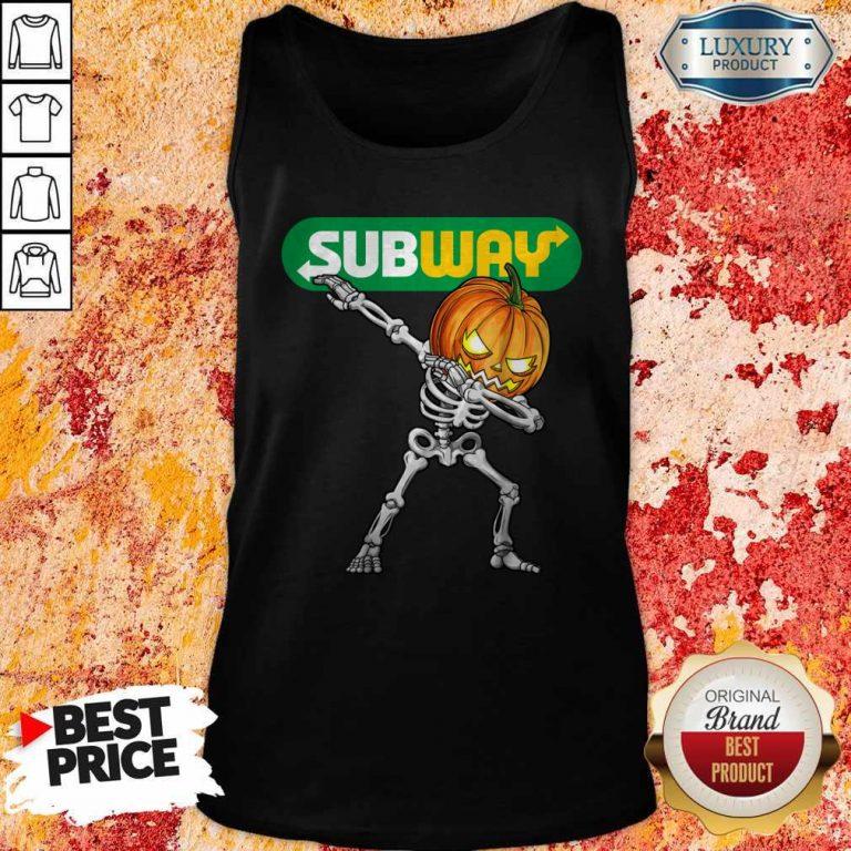 Skeleton Dabbing Halloween Pumpkin Subway Tank Top