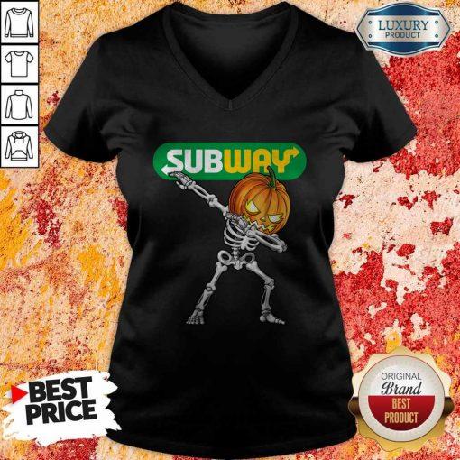 Skeleton Dabbing Halloween Pumpkin Subway V-neck