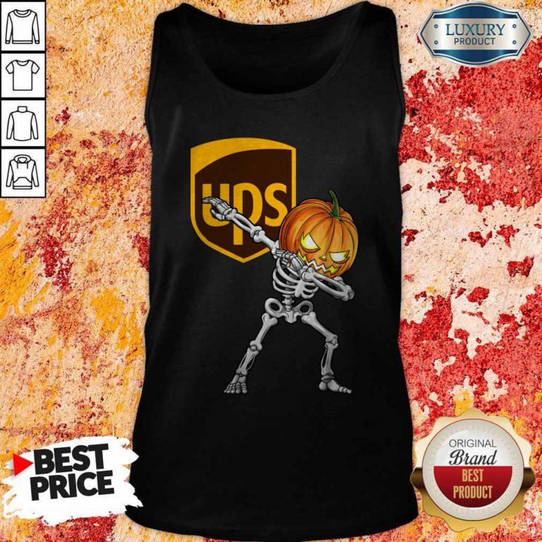 Skeleton Dabbing Halloween Pumpkin UPS Tank Top