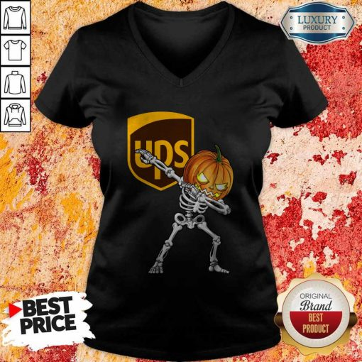 Skeleton Dabbing Halloween Pumpkin UPS V-neck