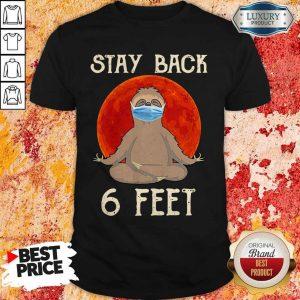 Sloth Yoga Face Mask Stay Back 6 Feet Blood Moon Shirt