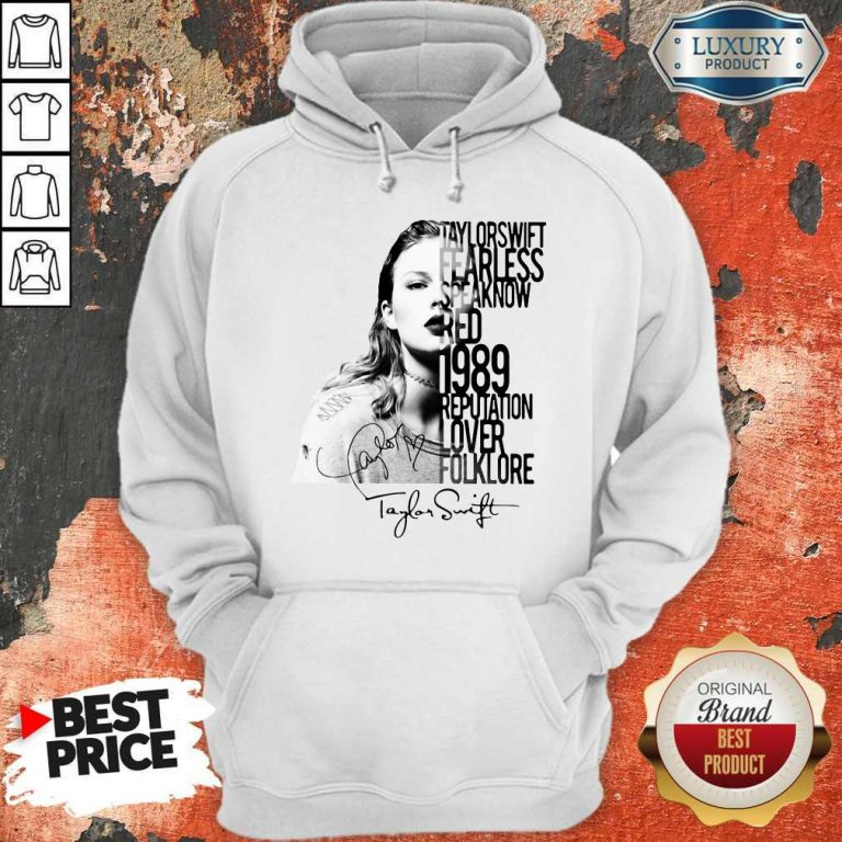 Taylor Swift Fearless Speak Now Red 1989 Reputation Lover Folklore Signature Hoodie