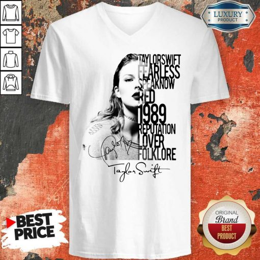 Taylor Swift Fearless Speak Now Red 1989 Reputation Lover Folklore Signature V-neck