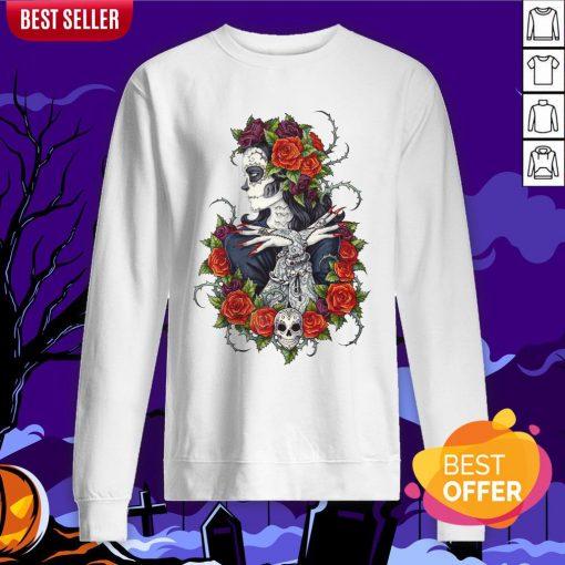 Сalavera Rose Sugar Skull Girl Day Of Dead Muertos Sweatshirt