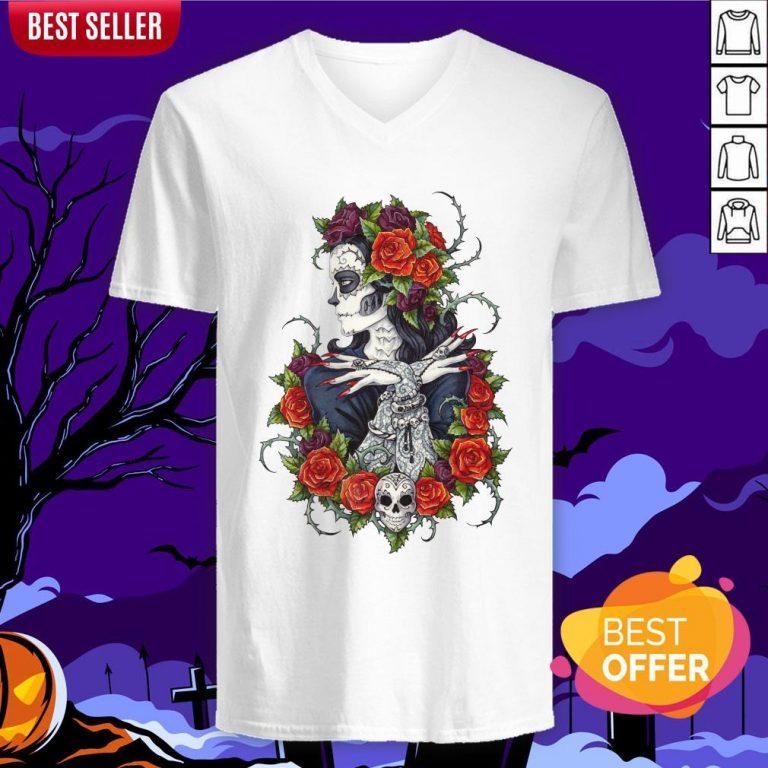 Сalavera Rose Sugar Skull Girl Day Of Dead Muertos V-neck