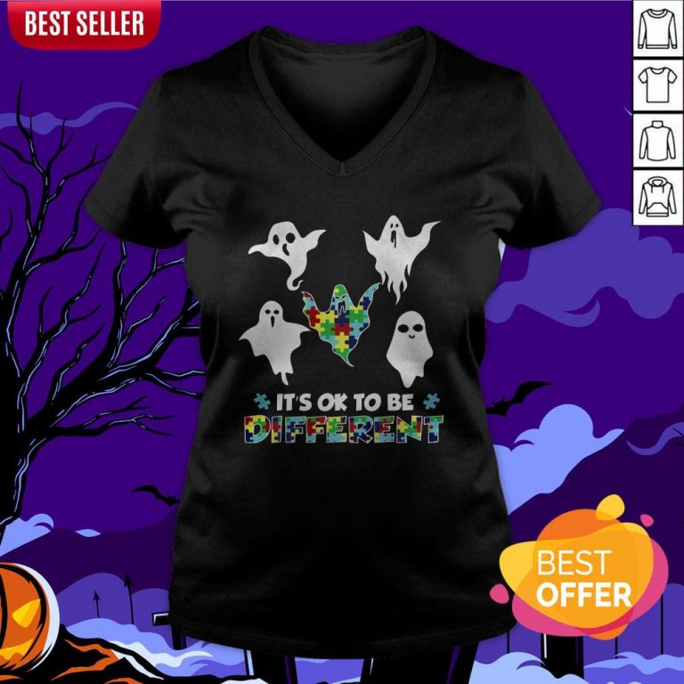 Boo Autism It's Ok To Be Different V-neck