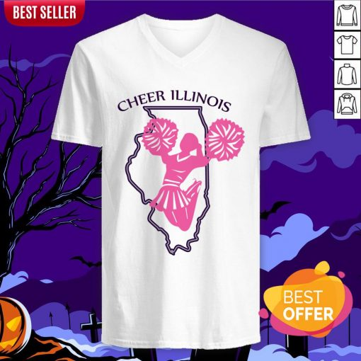 Cheer Illinois Happy Dia De Muertos Day Dead Skull V-neck