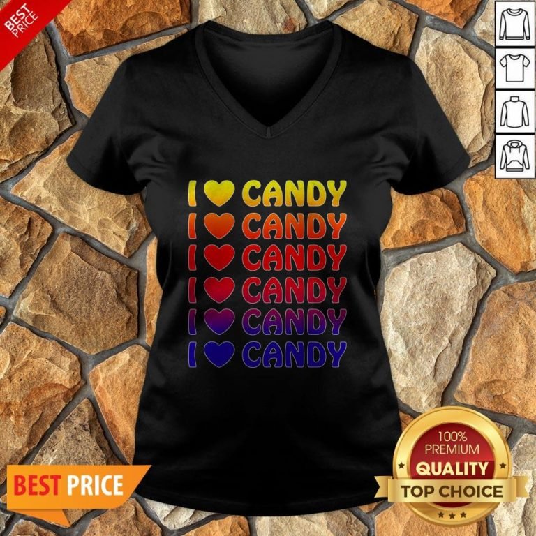 Cute Halloween Candy I Love Candy Boy Girls Kids Gift V-neck