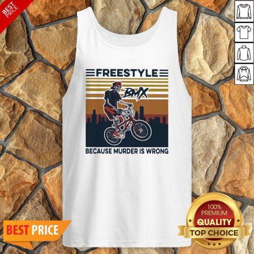 Freestyle Because Murder Is Wrong Biker Vintage Tank Top