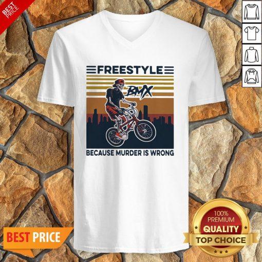 Freestyle Because Murder Is Wrong Biker Vintage V-neck