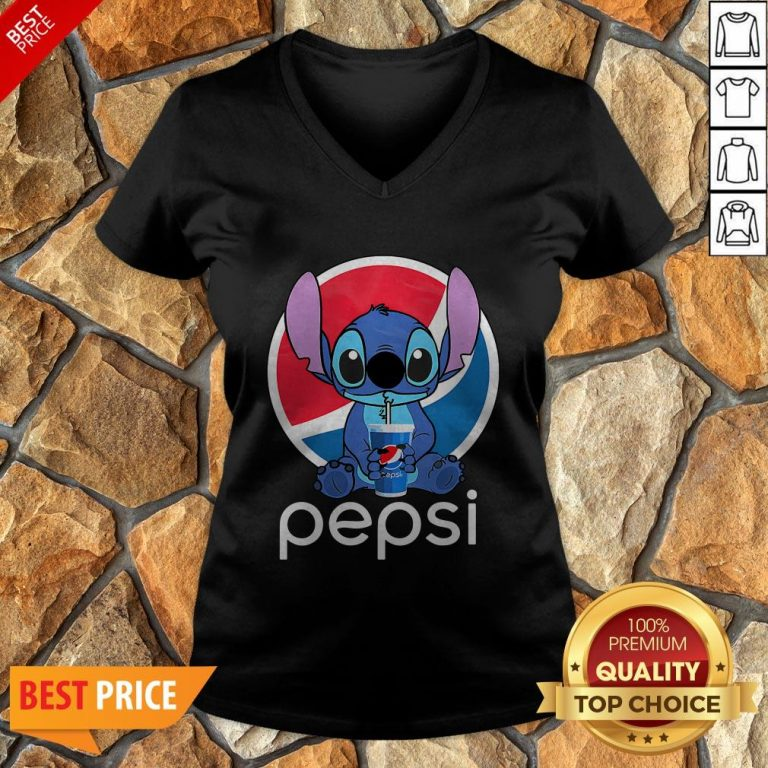 Funny Stitch Hug Pepsi V-neck