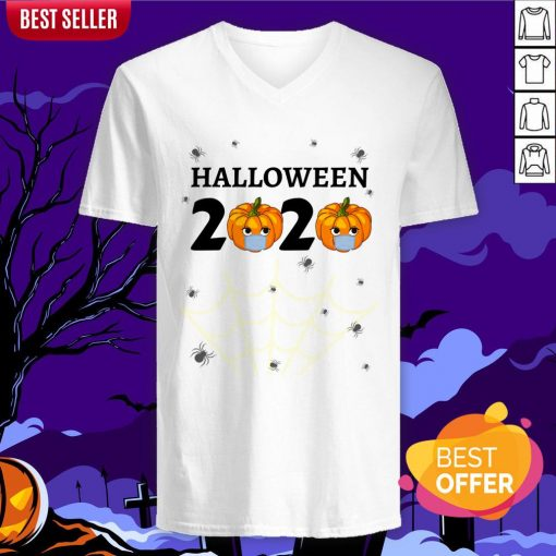 Halloween 2020 Design With Punkin Mask Quarantine V-neck