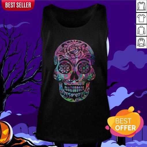 Halloween Sugar Skull Dia De Los Muertos Day Of Dead Tank Top