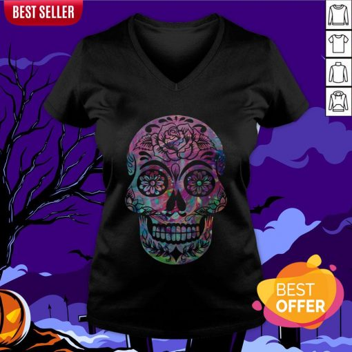Halloween Sugar Skull Dia De Los Muertos Day Of Dead V-neck