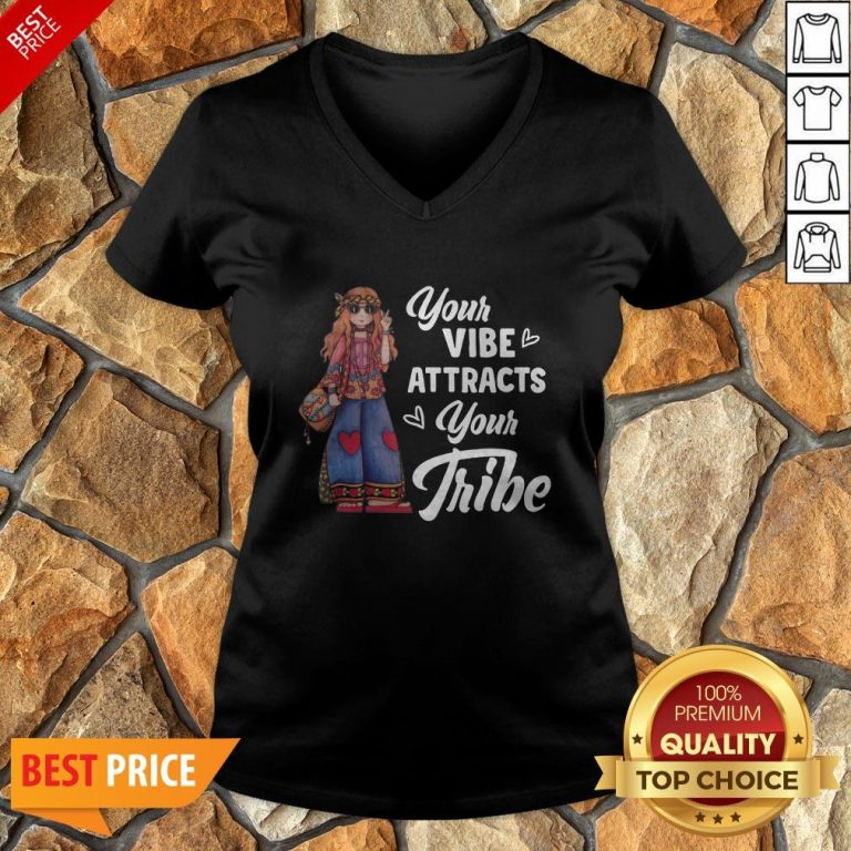 Hippie Girl Your Vibe Attracts Your Tribe V-neck