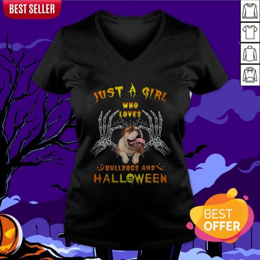 Just A Girl Who Loves Bulldogs And Halloween V-neck
