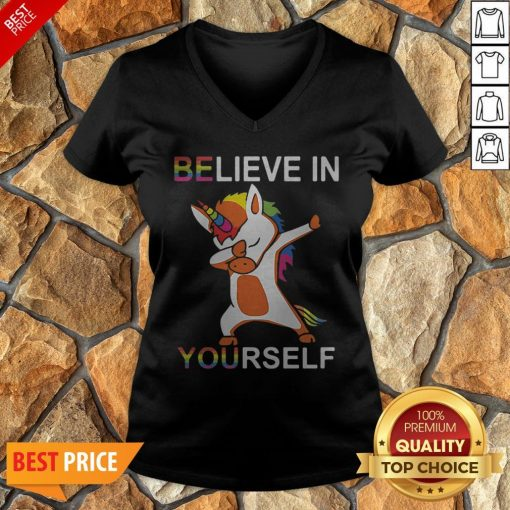 LGBT Unicorn Dabbing Believe In Yourself V-neck