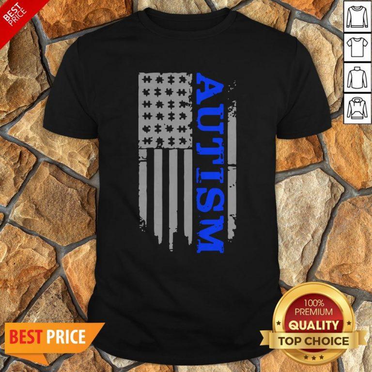 Nice Autism Awareness Blue Flag Shirt